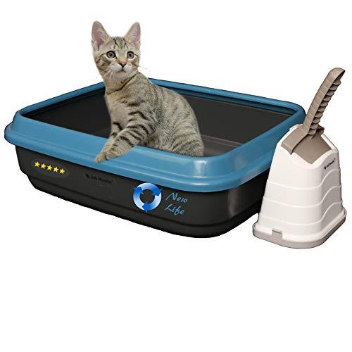 Joli Moulin New Life Katzentoilette offen mit Rand 40x50x15 cm Set mit Streuschaufel und Hygiene-Behälter 100% Recycling Material! Für eine grünere Umwelt ANTHRAZIT