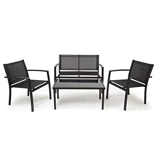IntimaTe WM Heart Garden Furniture Set, 4-seater outdoor furniture set [2 ArmChairs+1 Double Chair Sofa+1 Glass Coffee Table] Indoor Outdoor Furniture Dining Set for Garden, Patio, Lounge, Balcony