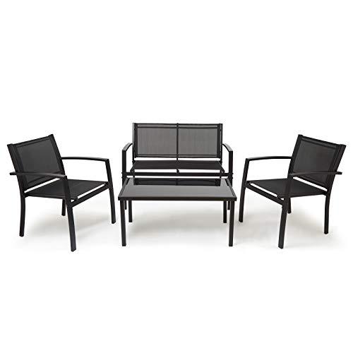 IntimaTe WM Heart Conjunto Muebles de Jardín Cafetería Sofá Exterior en Poly Ratán con Conjín, Ideal para Balcón y Terraza (Traje de Cuatro Piezas)