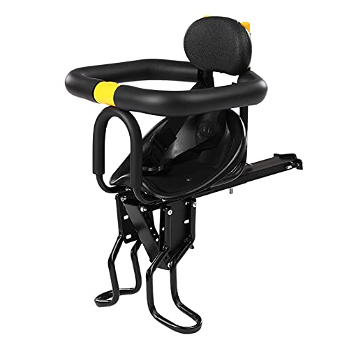 DFWYG Sillín de Bicicleta para Niñps Delantero Asiento de Seguridad para Niños Porta Cojín para Silla de Bebé con Cinturón de Seguridad, Pedales y Barandilla para Bebés de 8 Meses a 6 Años, Negro