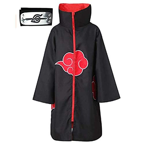 Afoxsos Akatsuki Cloak Costume 3Pcs with Headband and Ring, Itachi Cosplay Costume Long Robe