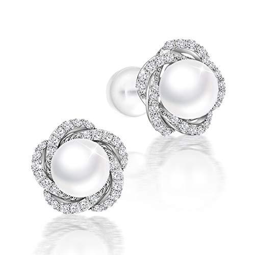PEARLOVE Freshwater Pearl Earrings for Women Hypoallergenic 925 Sterling Silver Pearl Stud Earrings Jewellery Gift for Women with Box