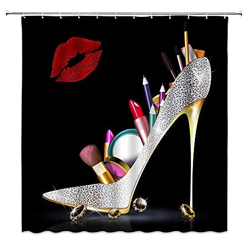 High Heel Duschvorhang Fancy Diamond Sexy Frau Lippenstift Kosmetik Rot Lippe Print Mode Schuhe Kunstwerk Schwarzer Hintergr& Polyester Stoff Home Badezimmer Dekor Gürtel 12 Haken 178 x 178 cm