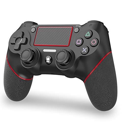 「2021 改良」JOYSKY PS4 コントローラー ワイヤレス 最新バージョン 600mAh Bluetooth リンク遅延なし ジャイロセンサー機能 イヤホンジャック ゲームパット 搭載 二重振動 高耐久ボタン 日本語取扱説明書(赤黒い)