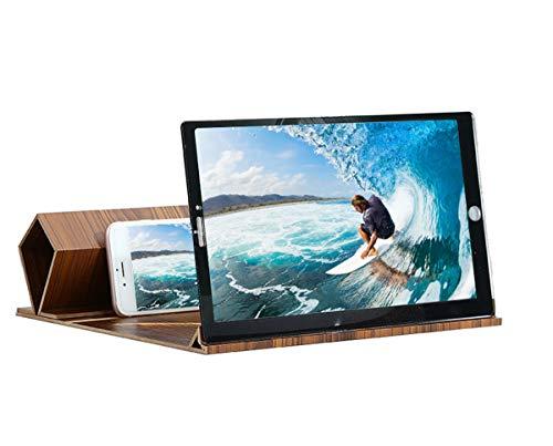 DYTTY 30 cm 3D mobiltelefon skärm förstoringsglas hopfällbart video stereoskopisk förstärkande skrivbord träkonsol surfplattehållare (gyllene träkorn) (gyllene träkorn)