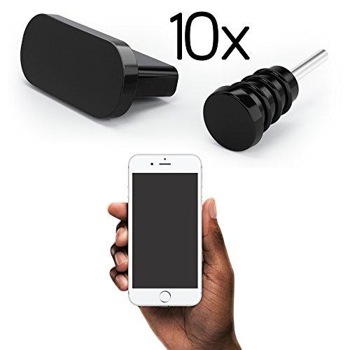 innoGadgets 10x Staubschutz Stöpsel kompatibel mit iPhone 5/6 | Staubstecker, Schutz für Lightning Anschluss | Staubstöpsel aus Silikon - Schwarz