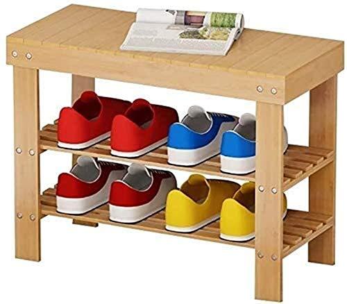 Estante de zapatos Zapatero zapatero zapatero vertical de validez 3 Estantes Estante de almacenamiento de bambú natural Bueno for Dormitorio Pasillo Sala de estar (Dimensiones: 50 cm), 58cm, 88cm Tama