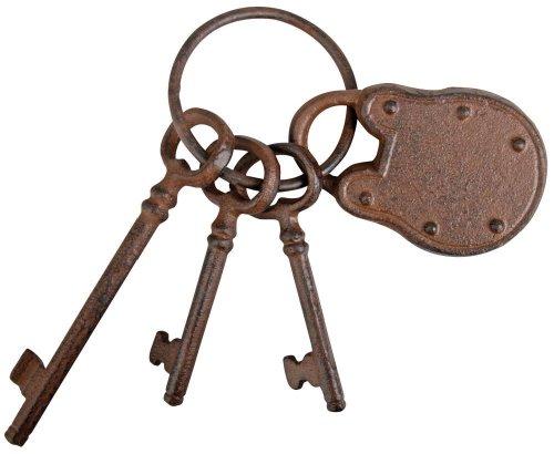 Esschert Design Schlüsselbund mit Schloss und DREI Schlüsseln aus rötlichem Gusseisen, ca. 7,5 cm x 6,5 cm x 20 cm