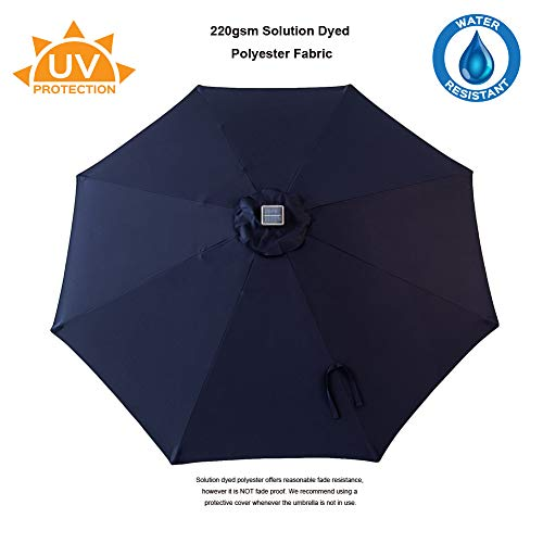 C-Hopetree 10 ft Outdoor Patio Market Umbrella with Solar LED Lights and Tilt - Navy Blue