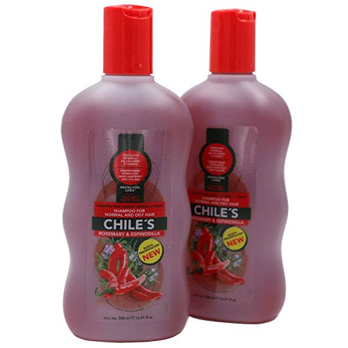Chiles Rosemary & Espinosilla Chile's Shampoo Cleansing Shampoo with Pepper and Strengthen Gives Hair Body and Volume Normal and Oily Hair 2-Packs of 16.9oz Shampoo, Red, Rosemary, 2 Bottles