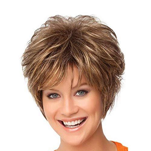 MXZBHPerruque Fantaisie, Cheveux Bouclés, Résille de Soie Rose Haute Température, Bangs Obliques Marrons