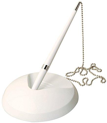 Weißer Rezeptions-Stift an Kette, mit Ständer + 3Nachfüllminen–für Banken, Schreibtische, Hotels & Hochzeiten