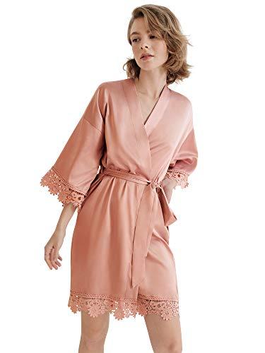 SIORO Damen Satin Robe Spitze Seide Kimono Robe Kurz für Brautjungfer Hochzeit Party Nachthemd S ~ XL - Pink - Medium