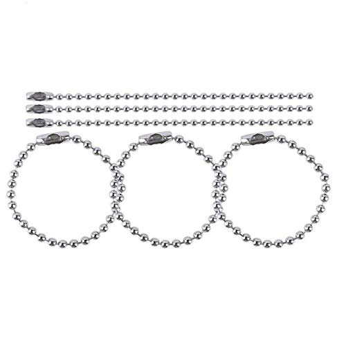 "LASSUM 50 Pcs Ball Chain Necklace 3.93"" Long 0.09"" Bead Dia Metal Connector Clasp Ball Chain Keychain for DIY Jewelry Making (Silver)"