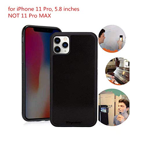Wingcases for iPhone 11 Pro Case 5.8 inch, Anti Gravity Suction Stick on The Mirror Glass Flat Smooth Surface Selfie Cover with Dust Proof Film