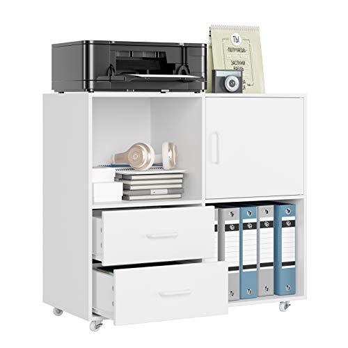 HOMECHO Büroschrank mobiler Aktenschrank Weiß Standschrank Druckerschrank Holz Rollcontainer mit 2 Schubladen Mehrzweckschrank Sideboard auf Rollen 75x39 x80cm