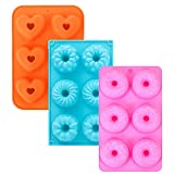 3Pcs Silicone Donut Pans, 3-Inch Silicone Donut Mold, Cake Baking Tray, Non-Stick Mold, Doughnut Pan, Donut Baking Pan for 6 Full-Size Donuts(Orange&Blue&Pink)