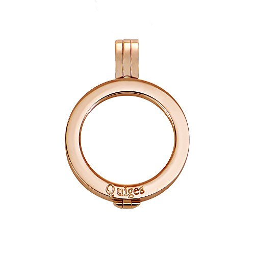 Quiges Rosegold Edelstahl Auswechselbarer Münzhalter Coin Anhänger 25mm Small