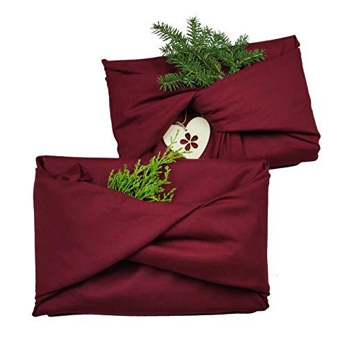 Nastami Geschenktücher 5er Set weinrot Geschenke verpacken nachhaltig