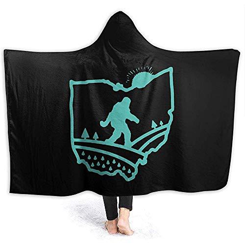 Hirkeld Ohio Bigfoot Hooded Blanket personalisierte Decke Flanell Schal Wrap