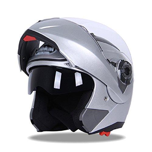 MERRYHE Casco Moto Integrale da Uomo PRO Casco Doppio Elmetto per Moto da Donna Casco Moto BMX Integrale da Moto Mezzo Casco Motorino,Silver-XXL(59-60cm)
