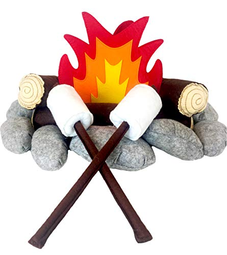 Domestic Objects   Indoor Campfire Toy Set for Kids   18-Piece Set   Includes Fire, 3 Logs, 3 Large Rocks, 6 Small Rocks, 2 Jumbo Marshmallows & 2 Roasting Sticks   Premium Felt Material