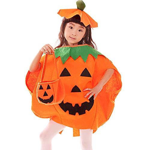 Homo Trends 1 disfraz de calabaza, 1 juego (3 piezas) de 57 cm de longitud, disfraz de calabaza, disfraz de calabaza para niños (ropa de calabaza, sombrero + bolso)
