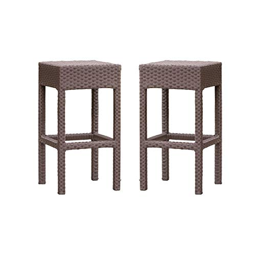 Milton Outdoor Brown Wicker Backless Bar Stool (Set of 2) by Christopher Knight Home