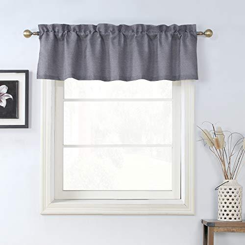Rama Rose Grey Burlap Curtain Valance for Bathroom Window, 56W x 16L Inches, Grey
