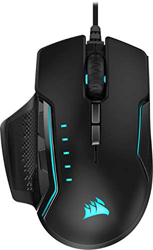 Corsair Glaive PRO - RGB Gaming Mouse - Comfortable & Ergonomic - Interchangeable Grips - 18,000 DPI Optical Sensor - Black