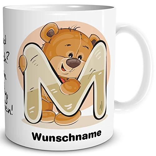 TRIOSK Tasse Bär Spruch lustig mit Namen personalisiert Bärchen Buchstabe M Teddy Bären Geschenk Bärenliebe für Frauen Freundin Büro