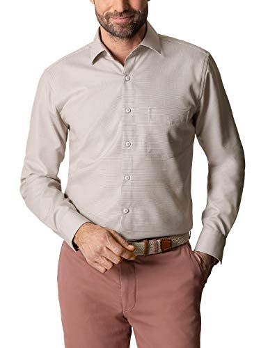 Walbusch Herren Hemd Tropical Buena Vista einfarbig Natur 41/42 - Kurzarm