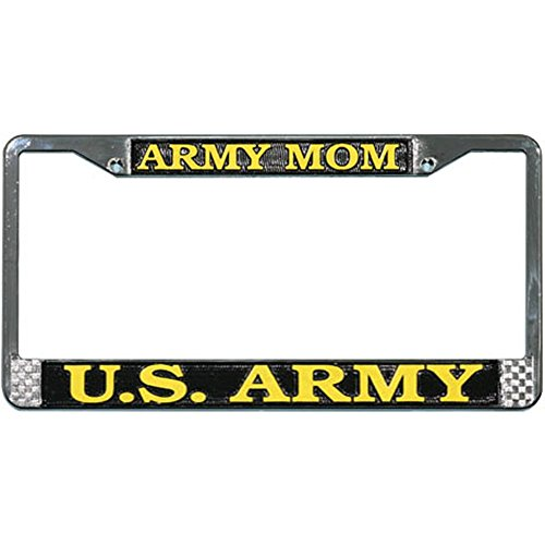 TAG FRAMES (MILITARY) Army Mom US Army License Plate Frame (Chrome Metal)