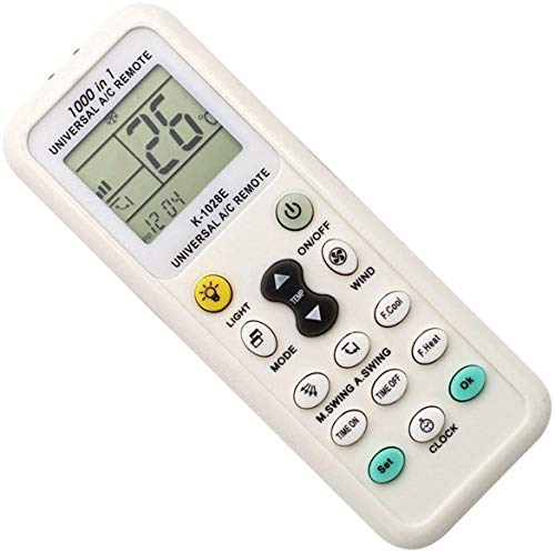 EnzoDirect Universal-Fernbedienung für Klimaanlage, K-1028E für Gree, Midea, Daikin, LG, Haier, Hitachi, Sharp, Panasonic, Samsung, Sanyo, Hisense, Kelong, Chigo und 1000 weitere Modelle