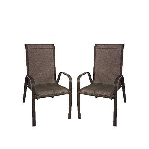 Edenjardi Pack 2 sillones de Exterior apilables, Tamaño: 57x74x96,5 cm, Aluminio Reforzado Color Antracita, Textilene Color Plata y Negro