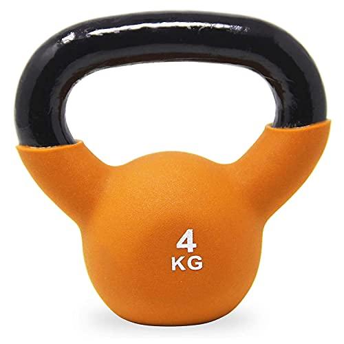 POWRX Kettlebell Hierro Fundido 4 kg - Pesa Rusa con Revestimiento de Neopreno + PDF Workout (Orange)