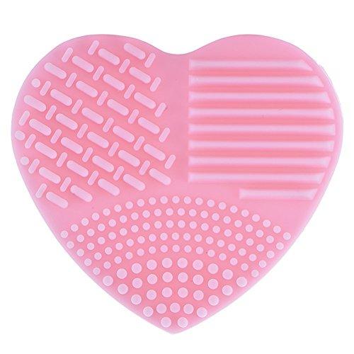 Nalmatoionme Forme de cœur Maquillage Brosse Aspirateur doigt Gant en silicone Outil de nettoyage Cosmétique (Rose)