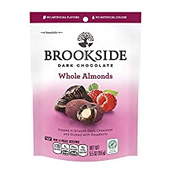 Brookside Dark Chocolate Covered Almonds, Dusted in Raspberry, 5.5 oz Resealable Pouch