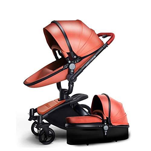 HNWNJ Cochecito de bebé de la Cuna de Transporte Combinado de 360 Rotación 2-en-1 Resistente a los Golpes Paisaje de la Alta Cochecito Cochecito for el Recién Nacido y el Niño, Brown