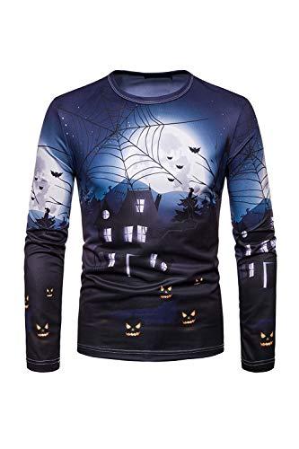 Camiseta De Manga Larga De Disfraz Casual De Halloween para Hombre Suéters Azul S