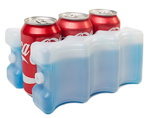 Kleager Can Beer Ice Pack for Lunch Box 2 Piece Double Sided - Reusable Cooler That Keeps 6-12 Soda Cans Cold - Clear