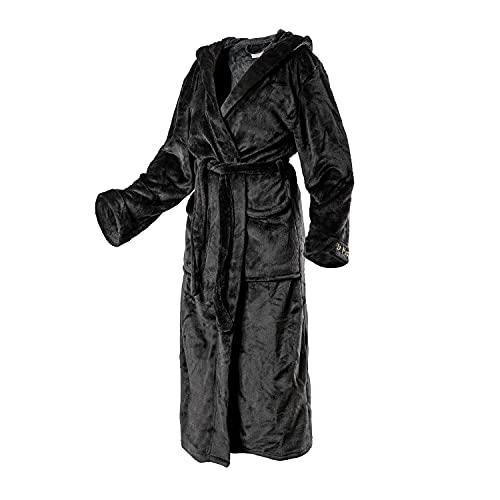 Di Ficchiano Unisex heren dames badjas met capuchon I ochtendjas pluizig I nachtkleding van luxe microvezel I kimono met keuze uit kleuren en maten XXS - 5XL I Bath-Robe Öko-Tex Standard 100, zwart-glanzend, XL