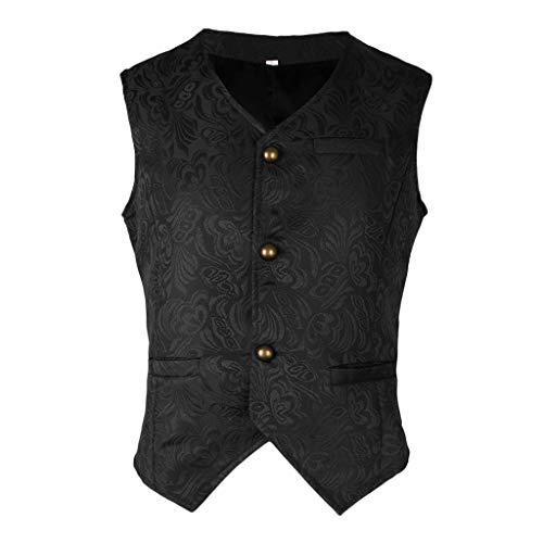 IPOTCH Chaleco Mediano Jacquard Hombres Steampunk Slim Fit Mujer Regalo Personal