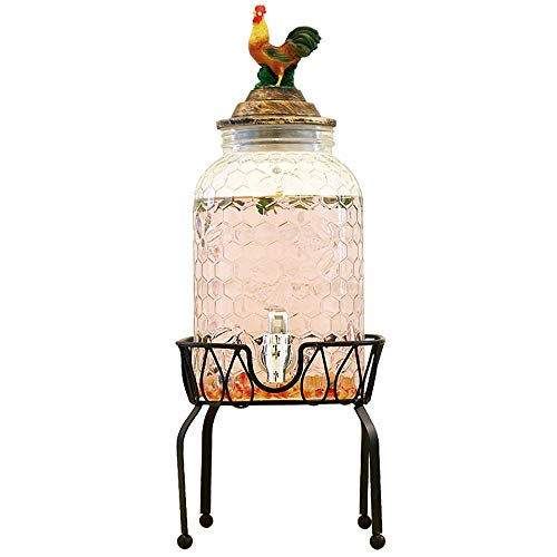 FMOGE Mason Jar Glass Beverage Dispenser with Leak-Free Spigot, Resin Lid, Glassware for Water, Juice, Beer, Wine, Liquor -Best Cold Drinks,Wine Cabinets