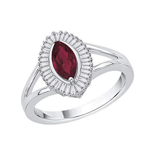 KATARINA Anillo de compromiso de diamantes y rubí de talla baguette en plata de ley (1 1/10 quilates, G-H, I2-I3), Metal Gema, diamante rubí,