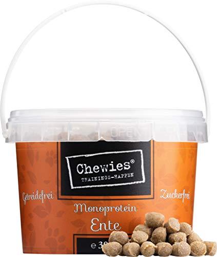 Chewies Trainingshappen Ente - Monoprotein Snack für Hunde - 300 g - getreidefrei & zuckerfrei - Softe Leckerlies fürs Hundetraining - hypoallergen