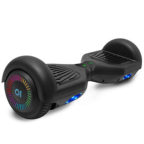 cho Electric Hoverboard Smart Self Balancing Scooter Hover Board Built-in Speaker LED Wheels Side Lights for Kids- Safety Certified (-Black (No Bluetooth))