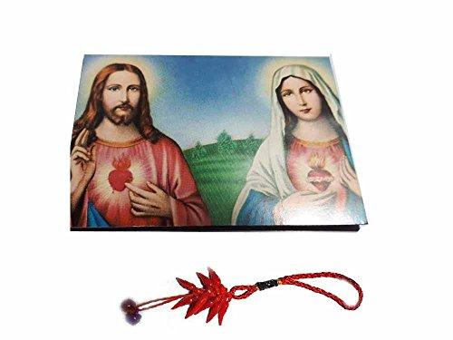 Artesanal ricevi 1Imán Religiosa Santini 5x 7cm Imán Color Virgen y Jesús scacro Corazón y un Llavero Incluye Amuleto Corni