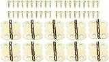 10 unids Golden Metal Hinges Gabinete Drawer Door Hinges 4 Agujeros Hinges Antiguo Vintage Bisagra Muebles Muebles Hardware 25x20mm