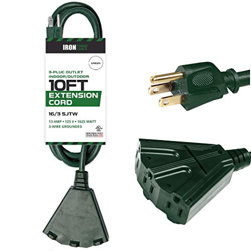10 Ft Outdoor Extension Cord with Power Block - 16/3 Durable Green Cable
